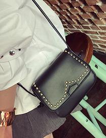 Vintage Black Metal Round Rivet Decorated Simple Pure Color Bag
