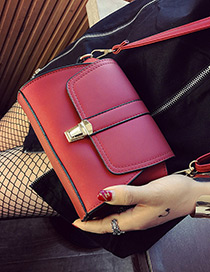 Vintage Red Lock Catch Decorated Simple Pure Color Bag