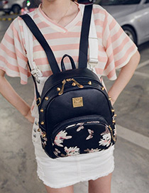 Fashion Black +white Flower Shape Pattern Decorated Simple Backpack