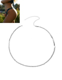 Fashion Gold Color Metal Round Shape Decorated Simple Pure Color Waist Chain
