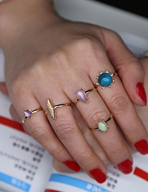 Vintage Gold Color Round Shape Decorated Simple Ring Sets(5pcs)