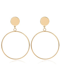 Fashion Gold Color Hollow Out Round Shape Pendant Decorated Simple Pure Color Earrings