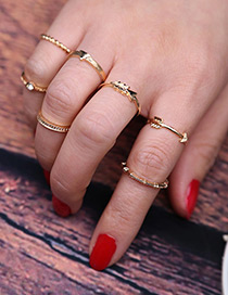 Vintage Gold Color Pure Color Decorated Simple Rings (6pcs)