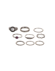 Vintage Silver Color Round Shape Decorated Simple Rings(9pcs)