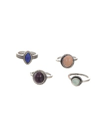 Vintage Silver Color Round Shape Gemstone Decorated Simple Rings(4pcs) (4 Pcs)