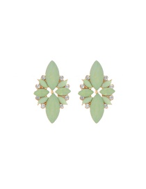 Elegant Green Oval Shape Gemstone Decorated Simple Earrings