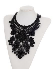 Fashion Black Flowers Decorated Pure Color Hollow Out Jewelry Sets