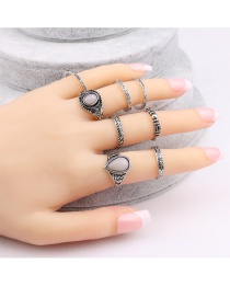 Vintage Silver Color Oval Shape Diamond Decorated Simple Rings(9pcs)