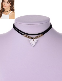 Vintage White Triangle Shape Pendant Decorated Simple Double Layer Choker