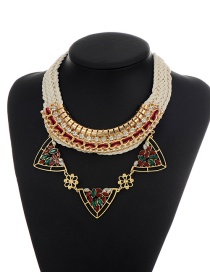 Elegant Red Shield Shape Decorated Simple Hand-woven Necklace