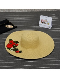 Fashion Khaki Flower Shape Patch Decorated Simple Sunbonnet