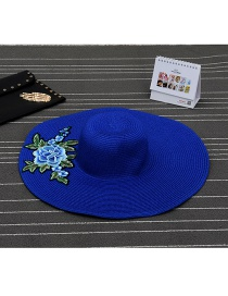 Fashion Blue Flower Shape Patch Decorated Simple Sunbonnet