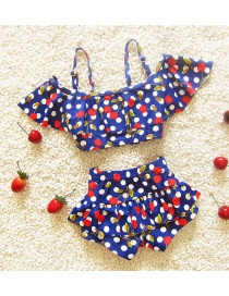 Lovely Sapphire Blue Cherry Shape Pattern Decorated Simple Child Swimwear