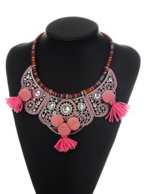 Bohemia Pink Fuzzy Ball&tassel Decorated Hollow Out Necklace