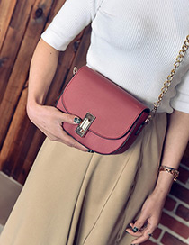 Trendy Red Buckle Decorated Pure Color Square Shape Shoulder Bag