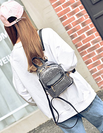 Trendy Silver Color Paillette Decorated Pure Color Simple Backpack