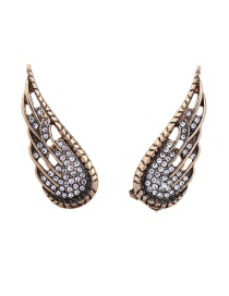 Fashion Gold Color Round Shape Diamond Decorated Wings Shape Earrings