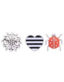 Fashion Silver Color Heart&insect Decorated Color Matching Brooch Sets