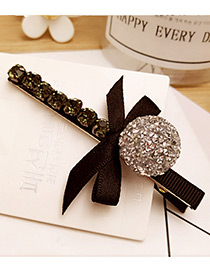 Elegant Silver Color Bowknot&round Ball Decorated Duckbilled Hair Pin