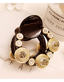 Fashion Gold Color Round Shape Decorated Pure Color Simple Hair Claw