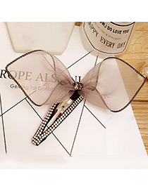 Fashion Gray Bowknot Decorated Color Matching Simple Hair Pin