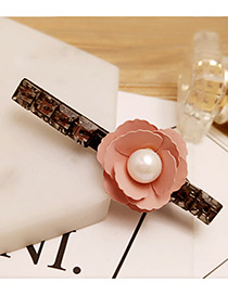 Fashion Pink Pearl&flower Decorated Color Matching Hair Pin