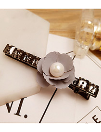 Fashion Gray Pearl&flower Decorated Color Matching Hair Pin