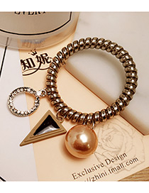 Fashion Champagne Triangle Shape&pearl Decorated Color Matching Hair Band