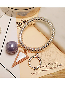Fashion Blue Triangle Shape&pearl Decorated Color Matching Hair Band