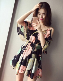 Sexy Multi-color Painting Flower Decorated V Neckline Lotus Leaf Dress