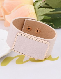 Elegant White Square Shape Decorated Pure Colr Simple Width Bracelet