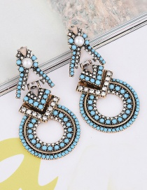 Vintage Blue Round Shape Diamond Decorated Hollow Out Design Earrings