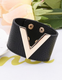 Fashion Black Pure Color Decorated V Shape Design Bracelet