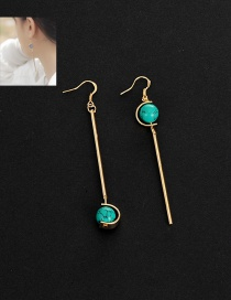 Fashion Green Vertical Shape Pendant Decorated Asymmetric Earrings