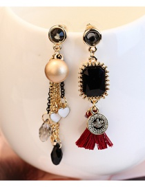Fashion Red Tassel&pearls Decorated Color Matching Earrings