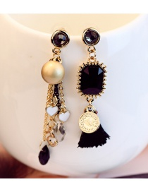 Fashion Black Tassel&pearls Decorated Color Matching Earrings