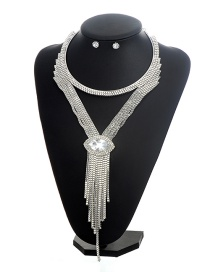 Fashion Silver Color+champagne Oval Shape Diamond Decorated Tassel Design Jewelry Sets