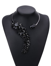 Fashion Black Water Drop Diamond Decorated Pure Color Simple Necklace