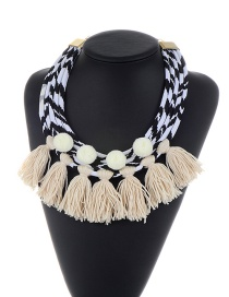 Trendy White Tassel&fuzzy Balls Pendant Decorated Multi-layer Necklace