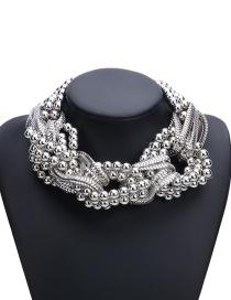 Fashion Silver Color Beads&chains Decorated Pure Color Simple Necklace