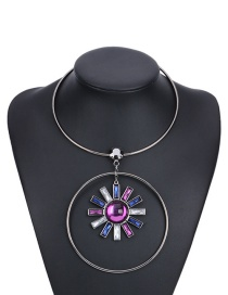 Fashion Multi-color Sun Pendant Decorated Color Matching Simple Necklace