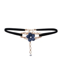 Fashion Black Flower&pearls Decorated Color Matching Simple Choker