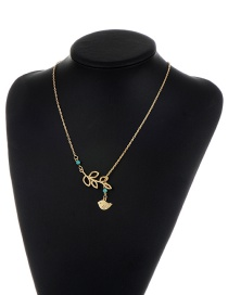 Fashion Gold Color Branch Decorated Pure Color Hollow Out Necklace