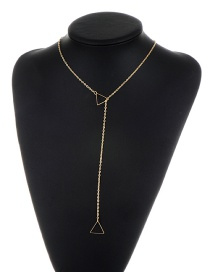 Fashion Gold Color Triangle Shape Decorated Pure Color Simple Necklace