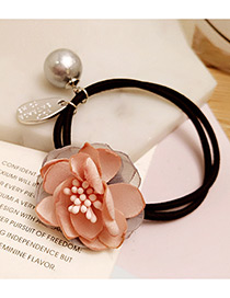Fashion Pink Flower&pearl Decorated Double Layer Hair Band