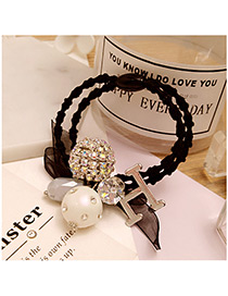 Fashion White+black Round Ball&letter H Decorated Double Layer Hair Band