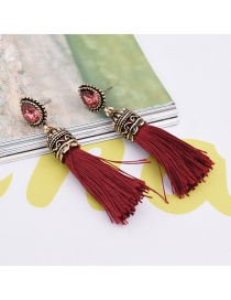 Fashion Red Big Gemstone Decorated Tassel Design Pure Color Earrings