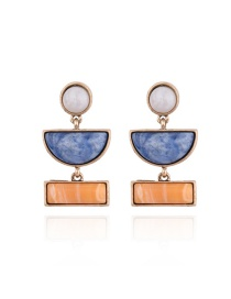 Fashion Blue Geometric Shape Gemstone Decorated Color Matching Earrings