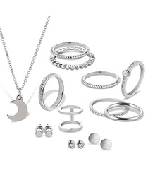 Fashion Silver Color Moon&diamond Decorated Pure Color Jewelry Sets