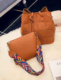 Fashion Brown Tassel Pendant Decorated Pure Color Shoulder Bag(2pcs)